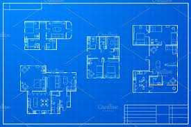 blueprint for house different blueprint house plans objects creative market