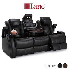 home theater couches lane omega leather gel power home theater sofa w fold down table