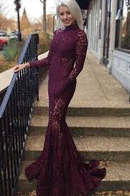 high neck illusion lace long sleeve burgundy mermaid floor length