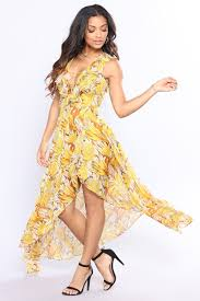 yellow dress high low dress yellow