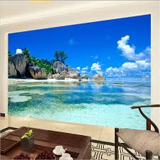 paradise ocean sea beach custom mural wallpaper free shipping
