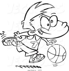 vector of a cartoon basketball boy dribbling coloring page