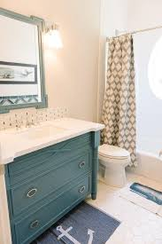 blue and gray boys bathroom with whale shower curtain cottage