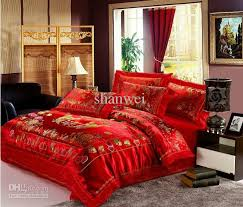 Wedding Comforter Sets Tapestry Satin Red Love Heart Bedding Comforter Sets For Queen
