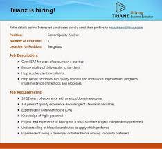 Data Quality Analyst Job Description Trianz Google