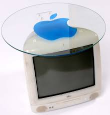 furniture glass computer desks with apple logo on top for