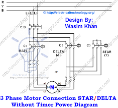 3 phase motor connection star delta without timer power diagrams