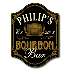 personalized bourbon bar sign wine enthusiast