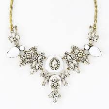crystal necklace stone images White stone and crystal bib chunky glass crystal statement jpg