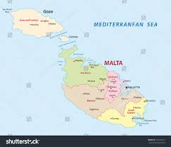 World Map Malta Showing Malta by Malta District Map Stock Vector 181431377 Shutterstock