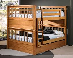 Wooden Bunk Bed With Futon Solid Wood Bunk Bed With Queen Size Bottom Delicate And