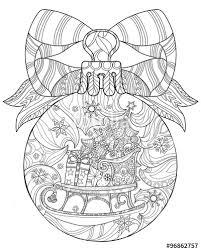vector hand drawn christmas glass ball doodle sketch sledge