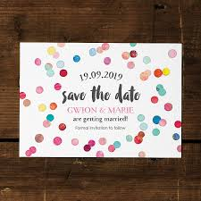 save the date invitation confetti swirl save the date card or fridge magnet by feel
