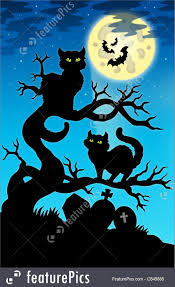 halloween two cats silhouette with full moon stock illustration