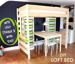 how to build a diy loft bed with lego storage and workspace lego loftbed