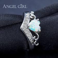 girl heart rings images Online shop angel girl heart shaped fire opal engagement ring jpg