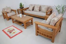 Wood Living Room Sofa And Table In Small Modern Living Room - Wooden sofa set design