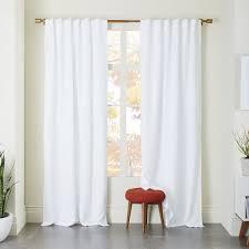 White Darkening Curtains Belgian Flax Linen Curtain West Elm
