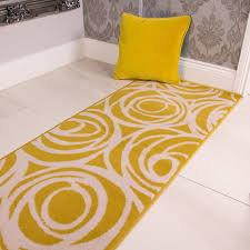 Yellow Runner Rug Floral Swirl Yellow Runner Rug Milan Kukoon