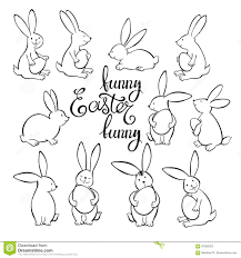 funny easter bunnies vector illustration outline drawing easter