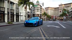 blue maserati maserati granturismo mc wrappedin blue chrome by dbx diamond