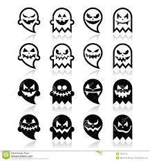 halloween scary ghost black icons set stock illustration image