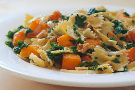 pasta with spice roasted butternut squash kale and walnuts
