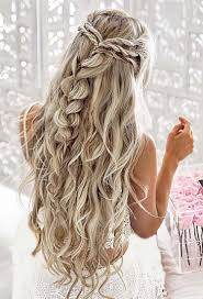 country hairstyles for long hair half up with twists and a pull through braid unique braid styles