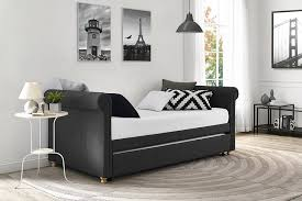 bedroom full daybed design with white wall design and grey rug upholstered daybed with pendant lamp design and glass windows also black nice sofa for modern bedroom
