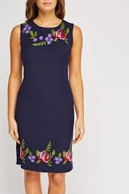floral embroidered shift dress peach or blue just 5