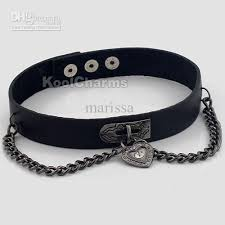 black leather collar necklace images Women black heart lock leather collar choker buckle necklace punk jpg