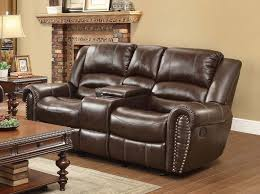 Brown Leather Reclining Sofa by Homelegance Center Hill Double Reclining Sofa Dark Brown Bonded
