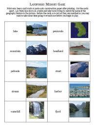 landforms memory game free printable geography pinterest
