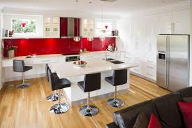 red and black kitchen ideas white polished duco glosy table