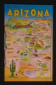Map Of Arizona State by 1960s Arizona State Map Landmarks Icons Saguaro Cactus Az Postcard