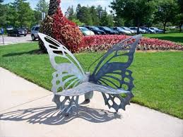 butterfly bench msu childrens garden insect sculptures on