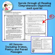 reading comprehension 4th grade 4th grade daily reading comprehension review quarter tpt