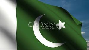 Pakistans Flag Pakistan Flag Waving In Wind With Clouds In Background Royalty
