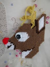 plastic canvas rudolph nosed reindeer tree ornament
