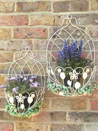 set 2 french vintage style metal garden wall planters pot holders