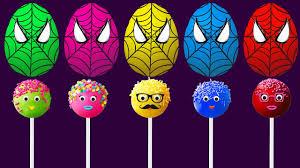 surprise eggs spiderman cake pops lollipops finger family colors