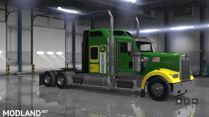 2017 kenworth w900 john deere skin for scs kenworth w900 mod for american truck