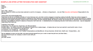 executive chef assistant offer letter