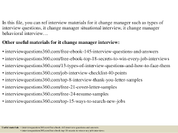 top 10 it change manager interview questions and answers