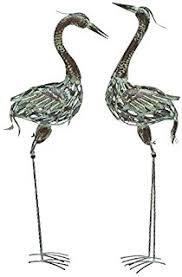 large 35 all metal crane heron lawn ornament pair