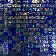 1sf blue iridescent glass mosaic tile kitchen backsplash spa sink