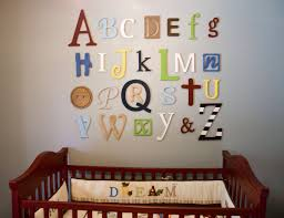 Decorating Wooden Letters For Nursery Awesome Idea Alphabet Wall Decor Wall Decoration Ideas