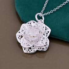 rose pendant necklace images Amazing 925 sterling silver lace rose pendant necklace project jpg