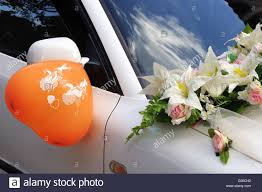 wedding car decoration with flowers and ball stock photo royalty