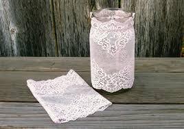 pale pink lace jar cover decor stretch lace jar